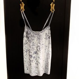 Tops - Shiny Periwinkle Velour Cami